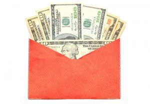 orange envelope with money