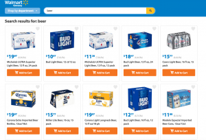 You can purchase beer from walmart grocery pickup