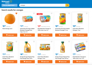 Search oranges on walmart grocery pickup